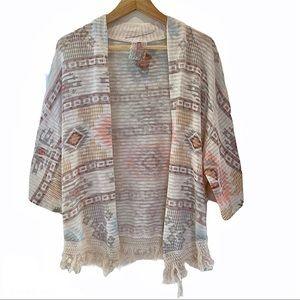 MAUVE Tribal Aztec Knit Open Cardigan Sweater M